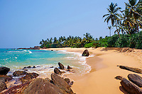 Sri Lanka, province du sud ouest, plage dans les evrirons d'Ambalangoda // Sri Lanka, South West Coast, Ambalangoda, beach
