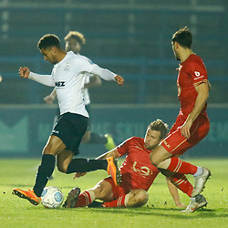 Dover's forward Jamie Allen beats a Hartlepool chalenge during the National League match between Dover Athletic FC and Hartlepool United FC at Crabble Stadium, Kent on 24 November 2018. Photo by Matt Bristow.