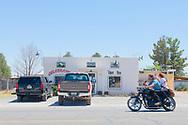 Marfa, Texas, Celebration Liquor Store, motorcycle, couple