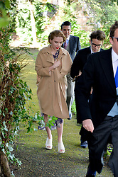 SCARLETT JOHANSSON and ROMAIN DAURAIC at the wedding of Princess Florence von Preussen second daughter of Prince Nicholas von Preussen to the Hon.James Tollemache youngest son of the 5th Lord Tollemache held at the Church of St.Michael & All Angels, East Coker, Somerset on 10th May 2014.