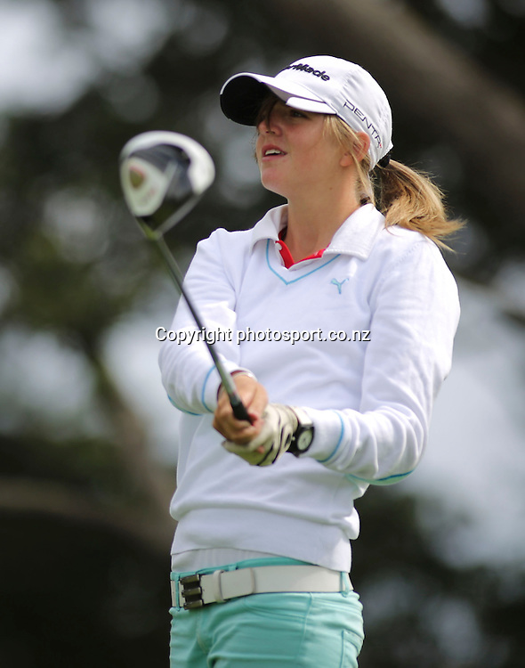 Emma Clayton on day two of the Taranaki Energy Open, New Plymouth Golf Club, New Zealand. Thursday 11 April 2013. Photo: John Cowpland / photosport.co.nz