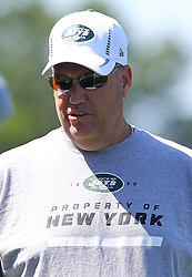 Jun 7, 2012; Florham Park, NJ, USA; New York Jets head coach Rex Ryan during the New York Jets organized team activities at the Atlantic Health Training Center.