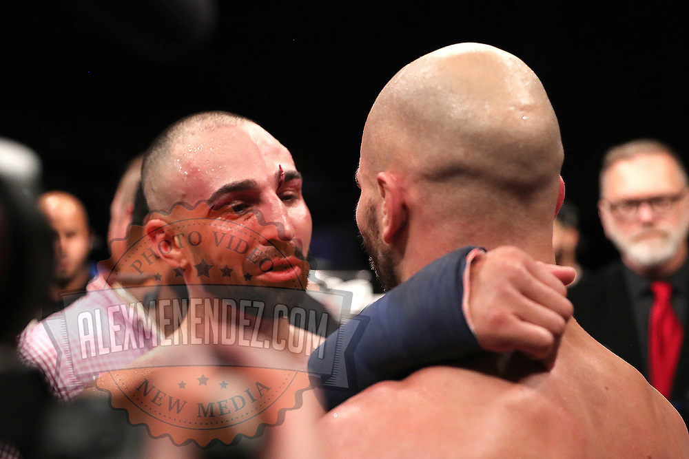 TAMPA, FL - JUNE 22: Paulie Malignanni (L) and Artem Lobov exchange pleasantries after the Bare Knuckle Fighting Championships at Florida State Fairgrounds Entertainment Hall on June 22, 2019 in Tampa, Florida. (Photo by Alex Menendez/Getty Images) *** Local Caption *** Paulie Malignanni; Artem Lobov