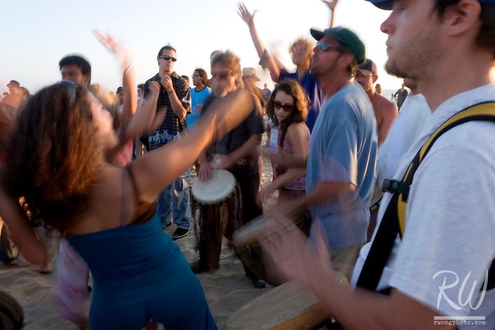 Girl Dancing in Drum Circle, Venice Beach, California