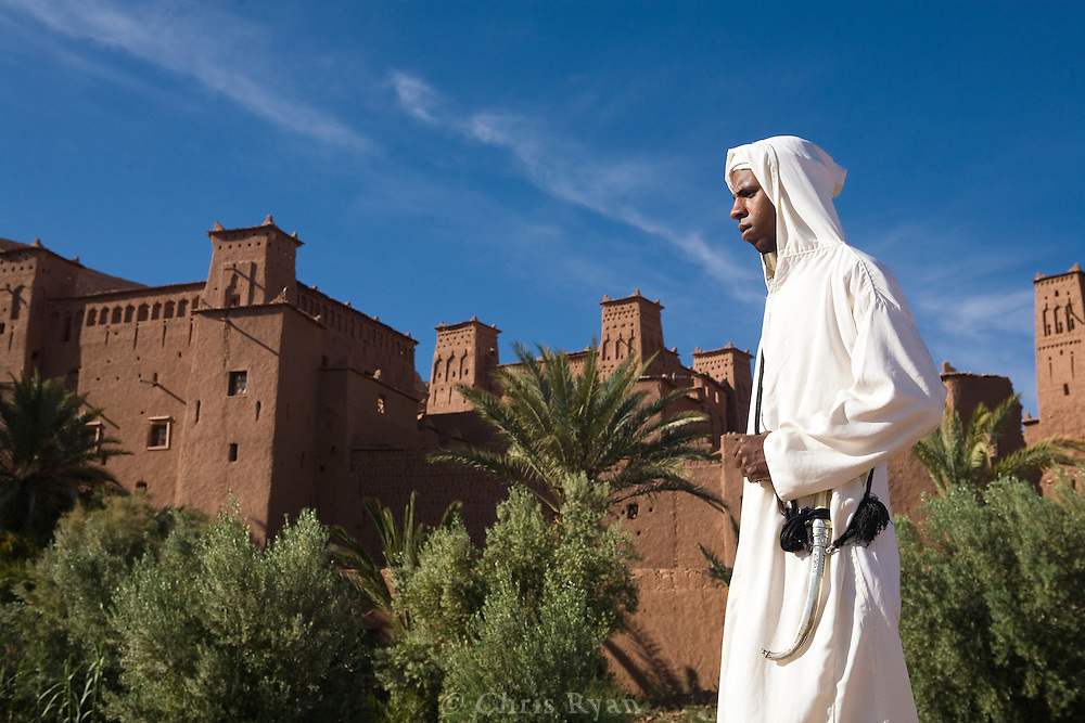 Model in traditional dress, Fortified city of Ait Benhaddou, Atlas Mountains, Morocco