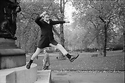 Neville jumping off monument in Hyde Park, London, UK.