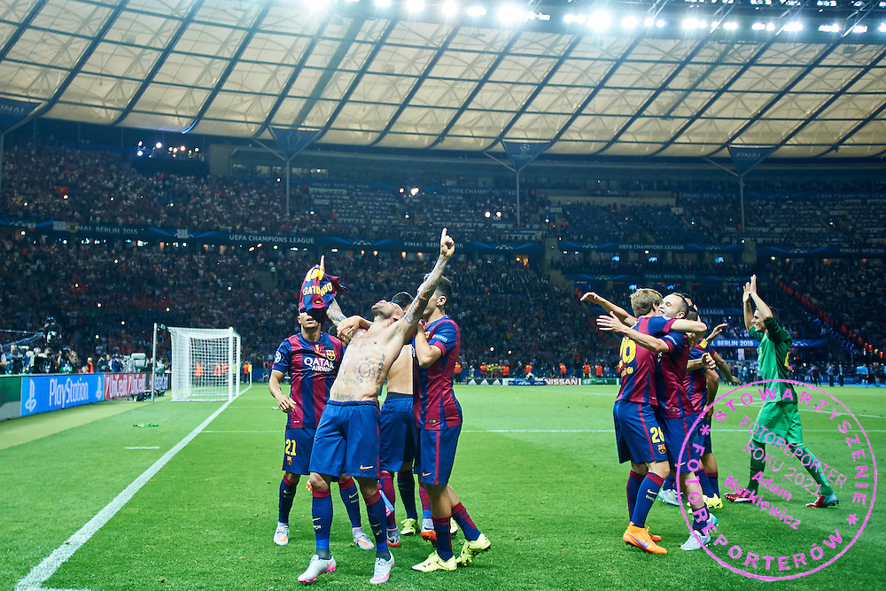 Daniel Alves of FC Barcelona celebrates with team mates after victory during the 2014/15 UEFA Champions League Final between Juventus and FC Barcelona at Olympiastadion on June 6, 2015 in Berlin, Germany.<br /> Germany, Berlin, June 6, 2015<br /> <br /> Picture also available in RAW (NEF) or TIFF format on special request.<br /> <br /> For editorial use only. Any commercial or promotional use requires permission.<br /> <br /> Adam Nurkiewicz declares that he has no rights to the image of people at the photographs of his authorship.<br /> <br /> Mandatory credit:<br /> Photo by &copy; Adam Nurkiewicz / Mediasport