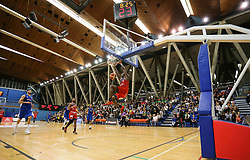 Fred Thomas of Bristol Flyers with a dunk - Photo mandatory by-line: Arron Gent/JMP - 28/09/2019 - BASKETBALL - Crystal Palace National Sports Centre - London, England - London City Royals v Bristol Flyers - British Basketball League Cup