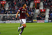 Hearts FC Forward Osman Sow scores a goal during the Ladbrokes Scottish Premiership match between Heart of Midlothian and Motherwell at Tynecastle Stadium, Gorgie, Scotland on 16 January 2016. Photo by Craig McAllister.