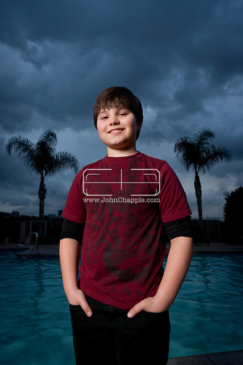 February 7th, 2012, Los Angeles, California.  Zach Callison, a 14 year-old whose CV is bulging with theatre, film, voice-overs and tv roles including Hannah Montana and Diary of a Single Mom. PHOTO © JOHN CHAPPLE / www.johnchapple.com.