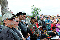 Members of the public during Monday's somber Memorial Day remembrances at the Monterey County Vietnam Veterans Memorial in Salinas.