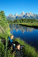 Photographers, moose cow and calf, Shwabackers Landing, Grand Teton National Park, Jackson Hole, Wyoming