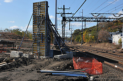 Bridge Abutment Forms in Place. Construction Progress Railroad Station Fairfield Metro Center. Site visit 4.