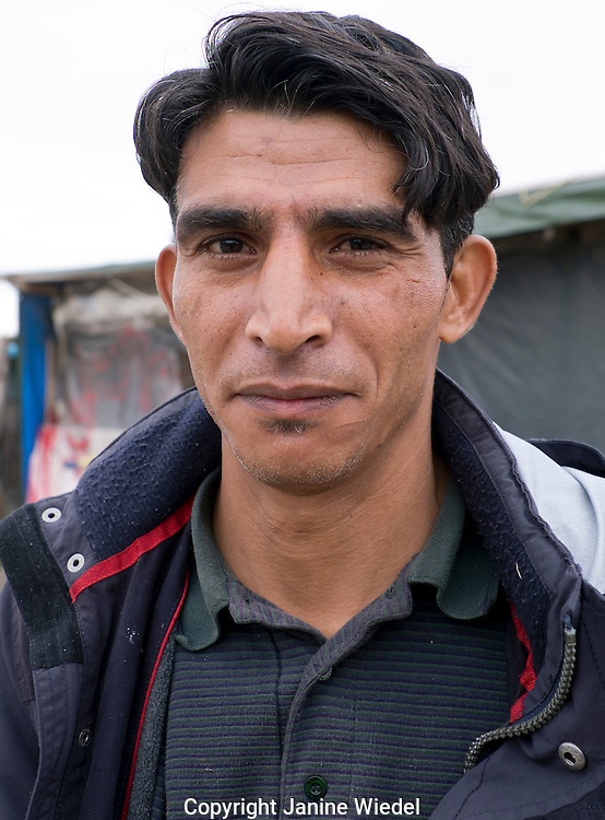 Refugee from Afghanistan. Calais Jungle Refugee & Migrant Camp in France