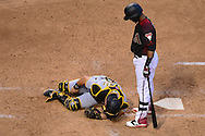 Apr 23, 2016; Phoenix, AZ, USA; Pittsburgh Pirates catcher Francisco Cervelli (29) lays on the ground holding his leg after being hit by a foul tip by Arizona Diamondbacks infielder Jean Segura (2) at Chase Field. The Arizona Diamondbacks won 7-1.  Mandatory Credit: Jennifer Stewart-USA TODAY Sports