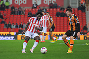 Stoke City forward Wilfried Bony plays the ball during the EFL Cup match between Stoke City and Hull City at the Britannia Stadium, Stoke-on-Trent, England on 21 September 2016. Photo by John Marfleet.