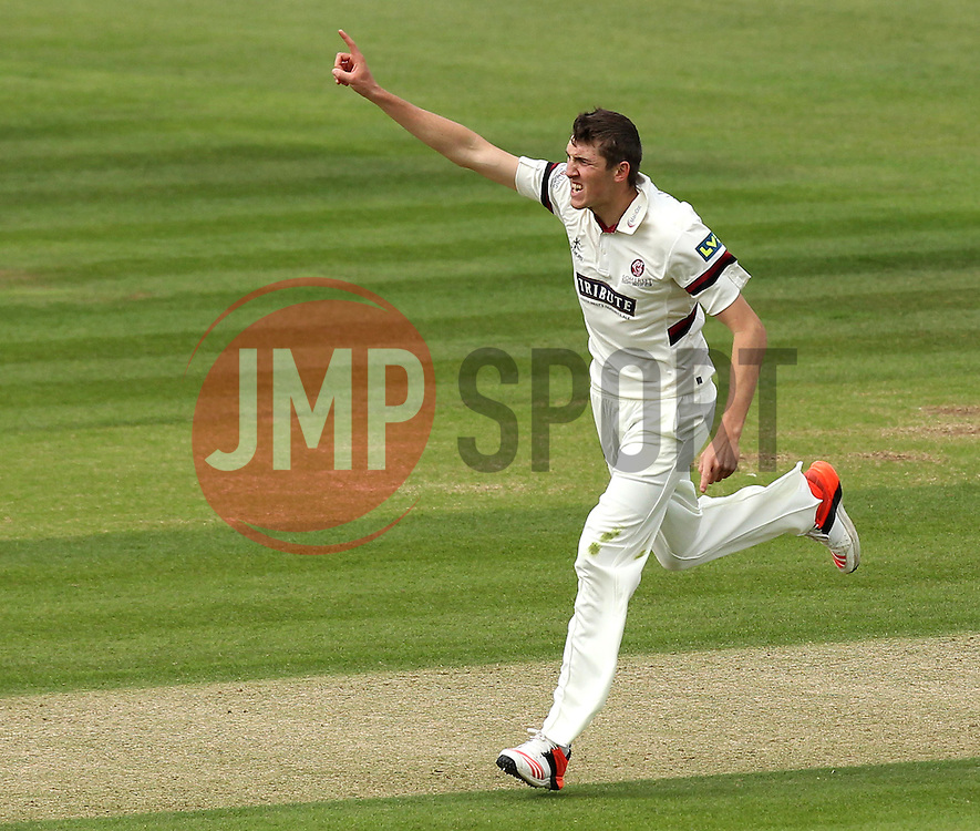 Somerset's Craig Overton celebrates the wicket of Hampshire's Will Smith - Photo mandatory by-line: Robbie Stephenson/JMP - Mobile: 07966 386802 - 22/06/2015 - SPORT - Cricket - Southampton - The Ageas Bowl - Hampshire v Somerset - County Championship Division One