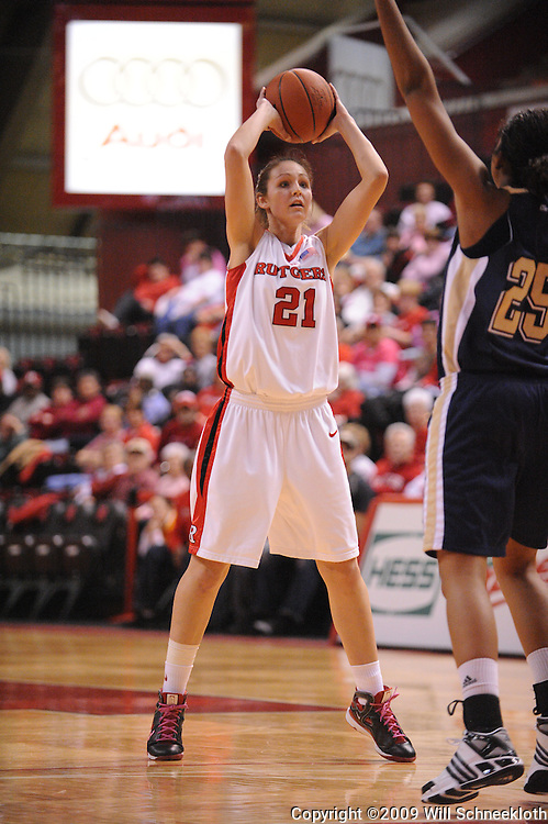 Feb 10, 2009; Piscataway, NJ, USA; Rutgers forward Heather Zurich (21) looks for an open pass during the second half of #19 Pittsburgh's 61-54 overtime victory over Rutgers in Women's College Basketball at the Louis Brown Athletic Center.