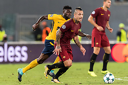 (L-R) Thomas Partey of Club Atletico de Madrid, Radja Nainggolan of AS Roma during the UEFA Champions League group C match match between AS Roma and Atletico Madrid on September 12, 2017 at the Stadio Olimpico in Rome, Italy.