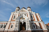 Low angle view of Alexander Nevsky Cathedral against cloudy sky; Tallinn; Estonia; Europe