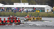 Cambridge, USA, Youth men' eights,   54 Huron RC and 55 Hawk River RC clash under the John Weeks footbridge during the  2009 Head of the Charles  Sunday  18/10/2009  [Mandatory Credit Peter Spurrier Intersport Images],.