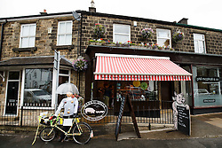 Tour de France themed decoration outside a butchers shop on the Stage 1 route in Burley in Wharfedale - Photo mandatory by-line: Rogan Thomson/JMP - 07966 386802 - 04/07/2014 - SPORT - CYCLING - Yorkshire - Le Tour de France Grand Depart Previews.