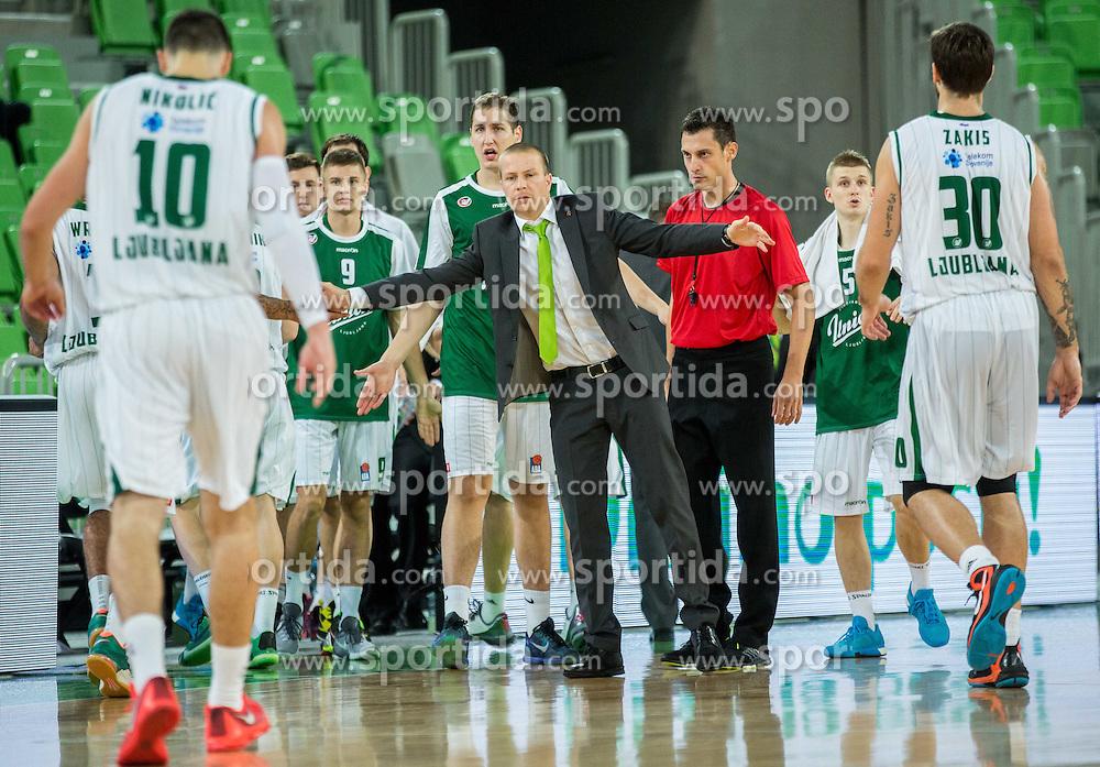 Ziga Mravljak, assistant coach of Union Olimpija during basketball match between KK Union Olimpija Ljubljana and KK Sutjeska Niksic in Round #3 of ABA League 2015/16, on October 7, 2015 in Arena Stozice, Ljubljana, Slovenia. Photo by Vid Ponikvar / Sportida