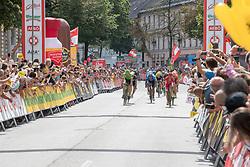 08.07.2017, Wels, AUT, Ö-Tour, Österreich Radrundfahrt 2017, 6. Etappe von St. Johann/Alpendorf nach Wels (203,9 km), im Bild das Feld am Zielort Wels, Oberösterreich // the peleton reaches the finish at the Wels Upper Austria during the 6th stage from St. Johann/Alpendorf to Wels (203,9 km) of 2017 Tour of Austria. Wels, Austria on 2017/07/08. EXPA Pictures © 2017, PhotoCredit: EXPA/ Reinhard Eisenbauer