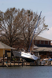 08 Sept 2005.  New Orleans, Louisiana. Hurricane Katrina aftermath. <br /> Venetian Isles in East New Orleans, where the tidal surge washed over the land and devastated homes and property.<br /> Photo; ©Charlie Varley/varleypix.com