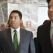 FORT LAUDERDALE, FLORIDA, DECEMBER 21, 2015<br /> Suspended Broward Sheriff's deputy Peter Peraza, left, and his attorney, Eric Schwartzreich, arrive to the Broward County Courthouse for a brief court appearance. Peraza faces manslaughter charges in the shooting death of Jermaine McBean, 33, in July of 2013.<br /> (Photo by Angel Valentin/Freelance).