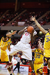 05 December 2009: Dinma Odiakosa protects the ball has he returns to the floor from grabbing a rebound.  The Chippewas of Central Michigan are defeated by the Redbirds of Illinois State 75-62 on Doug Collins Court inside Redbird Arena in Normal Illinois.