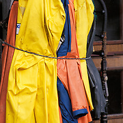 Foulweather Gear Onboard Fishing Boat In Small Boat Harbor On The Homer Spit, Homer, Alaska USA