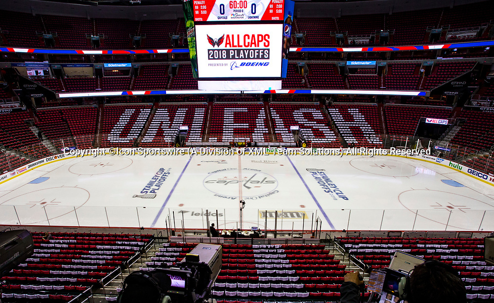 WASHINGTON, DC - MAY 21: Ice surface ready before game 6 of the NHL Eastern Conference  Finals between the Washington Capitals and the Tampa Bay Lightning, on May 21, 2018, at Capital One Arena, in Washington D.C.<br /> (Photo by Tony Quinn/Icon Sportswire)