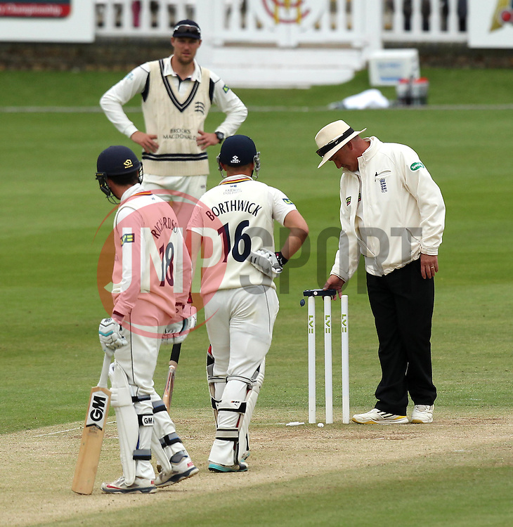 Umpires Neil Bainton and Peter Hartley check the light  - Photo mandatory by-line: Robbie Stephenson/JMP - Mobile: 07966 386802 - 04/05/2015 - SPORT - Football - London - Lords  - Middlesex CCC v Durham CCC - County Championship Division One
