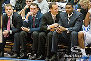 3 November 2009: Duke Coaching staff R-L, Steve Wojciehowski, Coach K,Chris Collins, and Nat eJames..The Duke Blue Devils defeat the Findlay Oilers 84 -48 in an exhibition game. Kyle Singler had 20 points as Duke wraps up it's pre-season.. Mandatory Credit:Mark Abbott / Southcreek Global