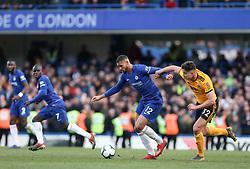 Ruben Loftus-Cheek of Chelsea holds off a challenge fom Leander Dendoncker of Wolverhampton Wanderers - Mandatory by-line: Arron Gent/JMP - 10/03/2019 - FOOTBALL - Stamford Bridge - London, England - Chelsea v Wolverhampton Wanderers - Premier League
