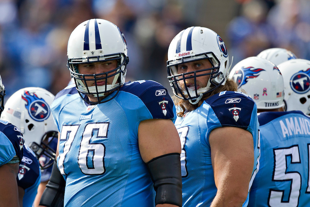 NASHVILLE, TN - OCTOBER 30:  David Stewart #76 and Jake Scott #73 of the Tennessee Titans in the huddle against the Indianapolis Colts at the LP Field on October 30, 2011 in Nashville, Tennessee.  The Titans defeated the Colts 27 to 10.  (Photo by Wesley Hitt/Getty Images) *** Local Caption *** David Stewart; Jake Scott