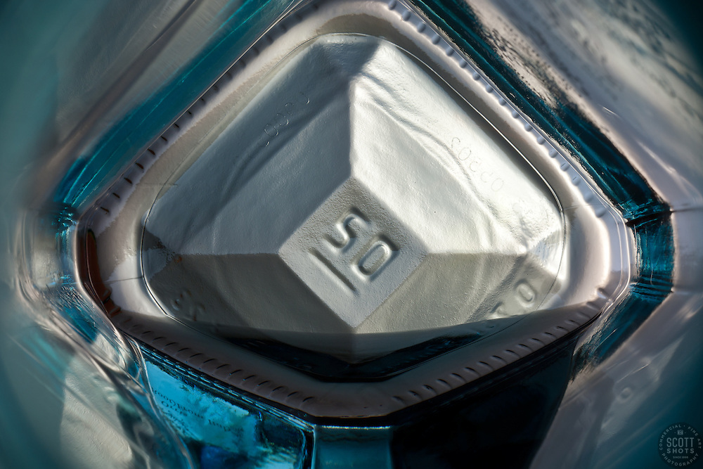 """Beauty at the Bottom: Gin 1"" - This is a photograph of a gin bottle, shot right down inside the mouth of the bottle."