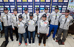 Tomas Kos, Peter Dokl, Andreja Mali, Janez Maric, Teja Gregorin, Klemen Bauer, Tadeja Brankovic Likozar, Jakov Fak, Vasja Rupnik and Uros Velepec at press conference of Slovenia Biathlon team before new season 2010 - 2011, on November 24, 2010, in Emporium, BTC, Ljubljana, Slovenia.  (Photo by Vid Ponikvar / Sportida)