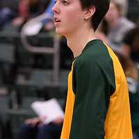 1st year guard Benjamin Hillis (8) of the Regina Cougars warms up the home opener  on November  4 at Centre for Kinesiology, Health and Sport. Credit: /Arthur Images