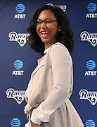Apr 6, 2018; Thousand Oaks, CA, USA; Los Angeles Rams communications coordinator Tiffany White poses at a press conference at Cal Lutheran.