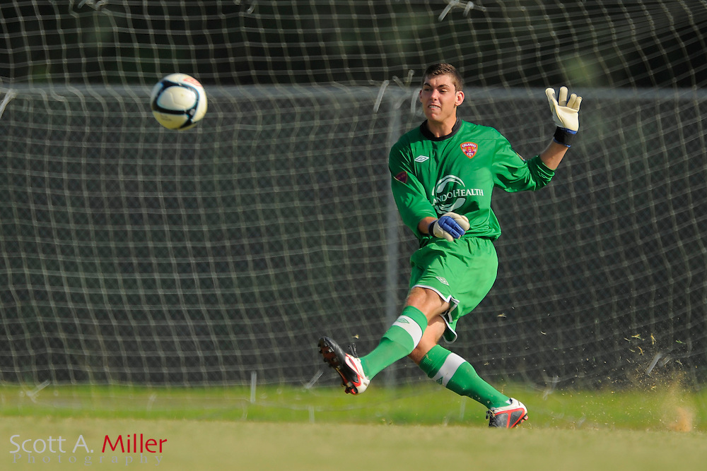 Orlando City goalkeeper Brendan Moore (1) in action during the Orlando City U23s 2-1 win over the Laredo Heat in their PDL Southern Conference Championships playoff game at Trinity Catholic High Schooll on July 20, 2012 in Ocala, Florida. ..©2012 Scott A. Miller