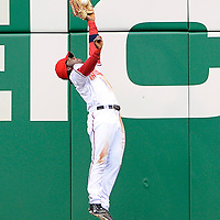 13 April 2009:  Washington Nationals center fielder Lastings Milledge (85) makes a leaping catch on a fly ball to the wall in center field off the bat of Philadelphia Phillies left fielder Raul Ibanez to end the 5th inning at Nationals Park in Washington, DC.  The Philadelphia Phillies defeated the Washington Nationals 9-8 in the Nationals home opener as the Nationals lost their 7th straight game to start the season.  ****For Editorial Use Only****
