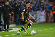Forest Green Rovers Liam Shephard(2) on the ball during the EFL Sky Bet League 2 match between Cheltenham Town and Forest Green Rovers at Jonny Rocks Stadium, Cheltenham, England on 2 November 2019.