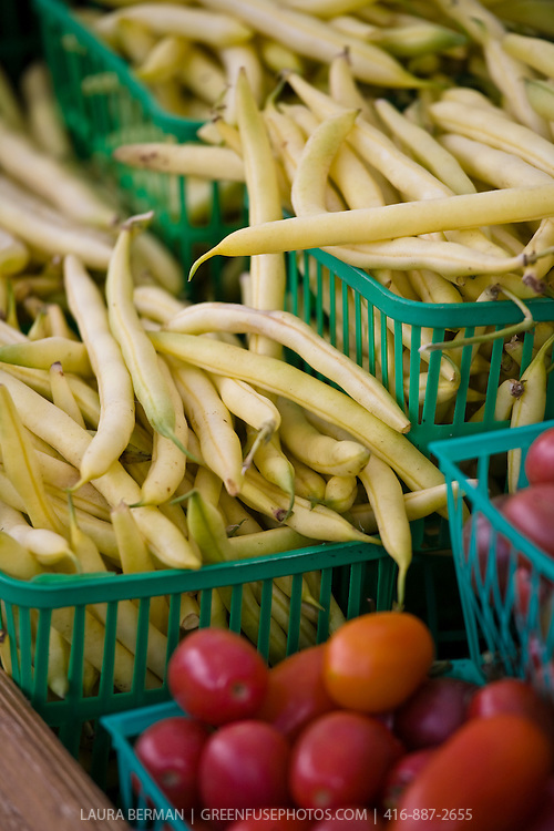 Locally grown yellow string beans at a farmers' market.