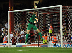 Bristol City's Bobby Reid's effort hits the cross bar  - Photo mandatory by-line: Joe Meredith/JMP - Tel: Mobile: 07966 386802 04/09/2013 - SPORT - FOOTBALL -  Ashton Gate - Bristol - Bristol City V Bristol Rovers - Johnstone Paint Trophy - First Round - Bristol Derby