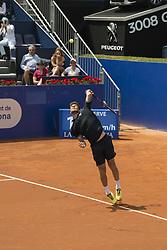 April 25, 2018 - Barcelona, Barcelona, Spain - MARTIN KLIZAN serves against NOVAK DJOKOVIC in the Barcelona Open Banc Sabadell 2018. MARTIN KLIZAN won the match 6-3 6-7(5) 6-4. (Credit Image: © Patricia Rodrigues/via ZUMA Wire via ZUMA Wire)