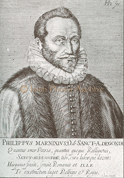 Philips van Marnix (1538-1598) reknowned as a Dutch Protestant theologian and statesman.  After receiving a thorough education he formed a friendship with Calvin and Beza.  Holland soon claimed the services of Marnix whose principal political activity was exercised between 1572 + 1585.  In Nov 1573 he was captured by the Spaniard.  He was then taken to the Hague then Utrecht where he was induced to make vain negotiations for peace.