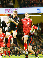 Rugby Union - 2016 / 2017 Pro12 - [Judgement Day V]: Newport Gwent Dragons vs. Scarlets<br /> <br /> Lewis Evans (capt) of Newport Gwent Dragons & Liam Williams of Llanelli Scarlets leap to take the ball from a kick off, at Principality Stadium [Millennium Stadium], Cardiff.<br /> <br /> COLORSPORT/WINSTON BYNORTH