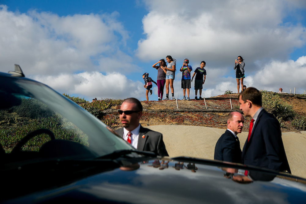 SAN DIEGO, CA - MAY 21, 2016: Onlookers watch as Democratic presidential candidate Bernie Sanders visits the U.S.-Mexico border at International Friendship Park in San Diego, California. CREDIT: Sam Hodgson for The New York Times.